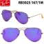 Ray Ban RB3025 167/1M Aviator Bronze Frame Violet Mirrored thumbnail 1