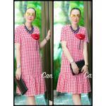 """รหัสTK1356 **สีแดง** รอบอก 40"""" Dress long D&G Korea oversize (flower) Flower"""