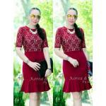 """รหัสTK1401 **สีแดงมืด** รอบอก 38-40"""" Luxury floral lace Chanel dress"""