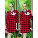 "TK1426**สีแดง**รอบอก40"" Chanel long shirt Chiffon Japan"