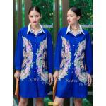 "TK1586""สีน้ำเงิน""*รอบอก46"" Versace chiffon shirt Oversize Korea high quality"