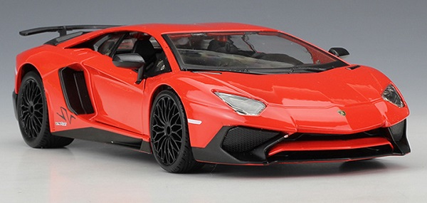 พรีออเดอร์ โมเดลรถเหล็ก โมเดลรถยนต์ Lamborghini Aventador LP750-4 SV ส้ม 1:24 หายาก