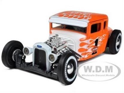 พรีออเดอร์ รถเหล็ก รถโมเดล US 1929 FORD MODEL A HARLEY สีส้ม ขาว รูปไฟ Special Edition Maisto สเกล 1:24