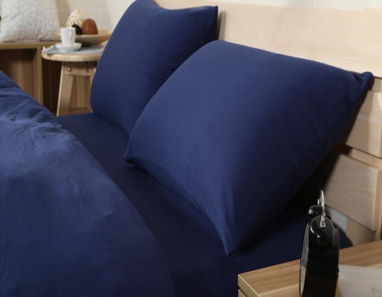 ผ้าปูที่นอน สีพื้น สีน้ำเงินเข้ม เนื้อผ้าถักนิตติ้ง KnittedCotton