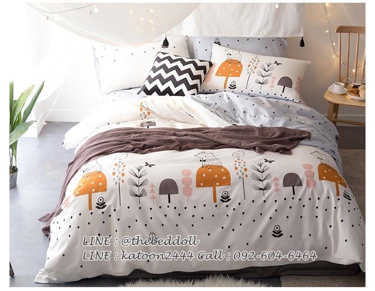 ผ้าปูที่นอน ลายจุดต้นไม้ สีขาว-เทา