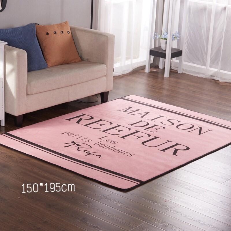พรมผืนใหญ่ พรมห้องนั่งเล่น ลายสวย สีชมพู