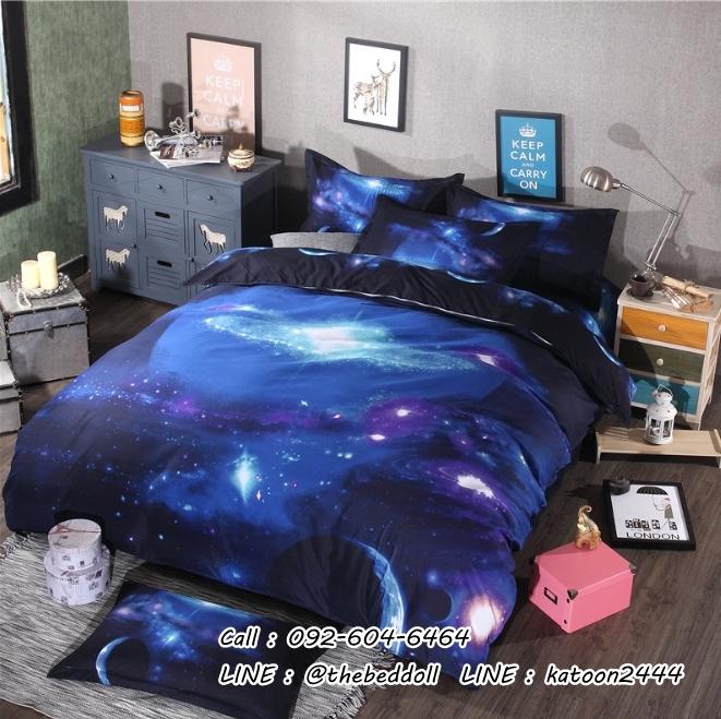 ผ้าปูที่นอน ลายท้องฟ้า จักรวาล ดาว กาแลคซี่ Galaxy
