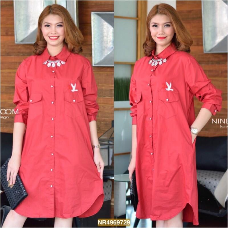 "NR729**สีแดง**รอบอก 44"" CC-OO 10th Aniversary With Premium Korea Cotton Shirtdress"