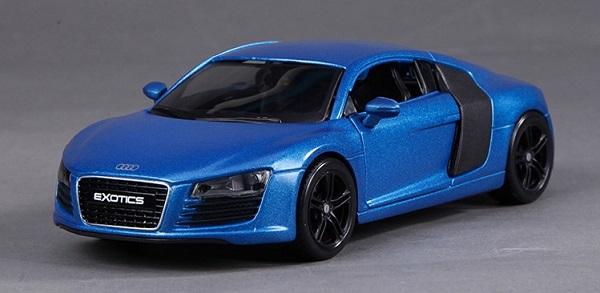 พรีออเดอร์ โมเดลรถเหล็ก โมเดลรถยนต์ Audi R8 Exotic สีน้ำเงิน 1:24 มี โปรโมชั่น