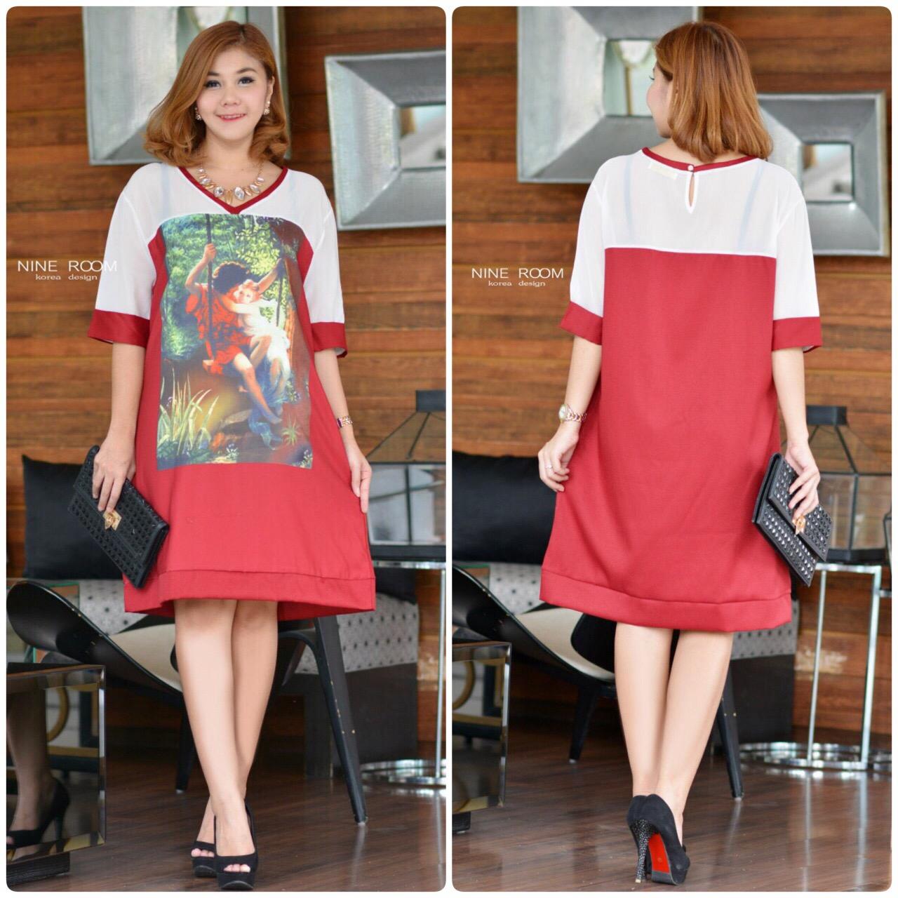 """รหัสNR512 **สีแดง** รอบอก 44"""" Love in Paradise Printed with Premium Polyester Dress"""
