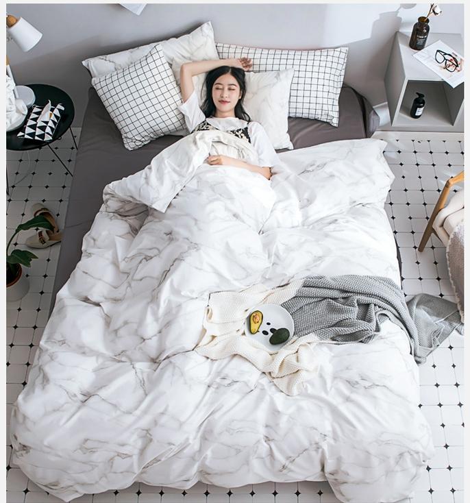 ผ้าปูที่นอนลายหินอ่อน สีขาว-เทาเข้ม