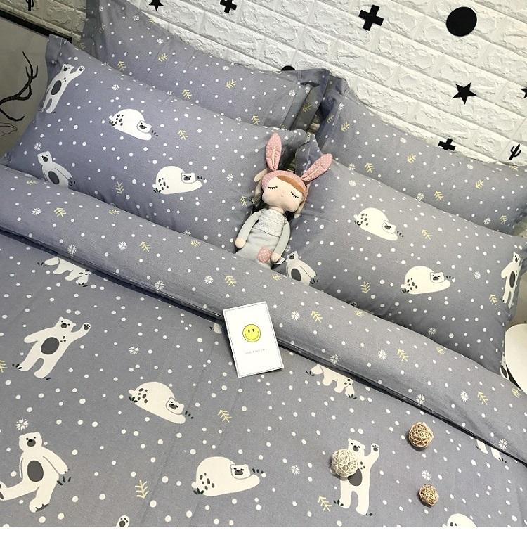 ผ้าปูที่นอน ลายหมีขาว ลายจุด สีเทา
