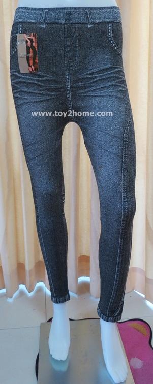 กางเกงเลคกิ้ง 9 ส่วน ผ้า Spendex สีดำ (ลายซิป)