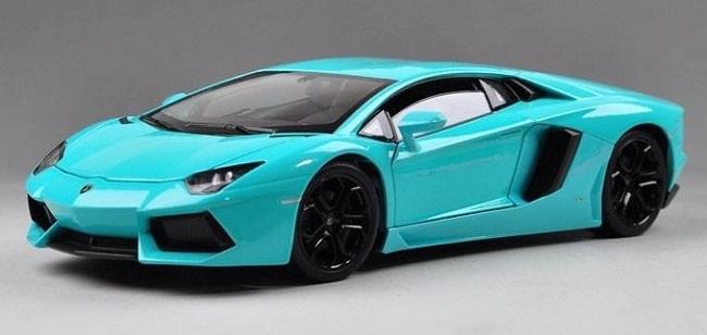 ขาย พรีออเดอร์ โมเดลรถเหล็ก Lamborghini Aventador สีฟ้าเข้ม 1:24 มี โปรโมชั่น