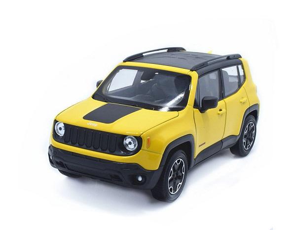 พรีออเดอร์ โมเดลรถเหล็ก โมเดลรถยนต์ Jeep Renegade TrailHawk เหลือง 1:24 มี โปรโมชั่น