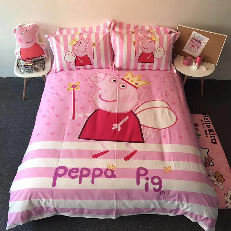 ผ้าปูที่นอนลายการ์ตูนหมู สีชมพู PepPa Pig