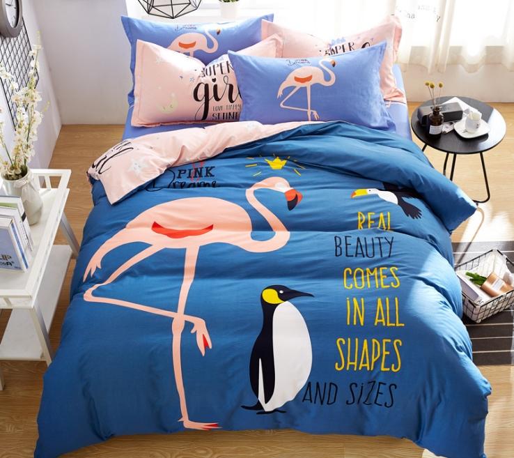 ผ้าปูที่นอน ลายนกฟลามิงโก้ Flamingo