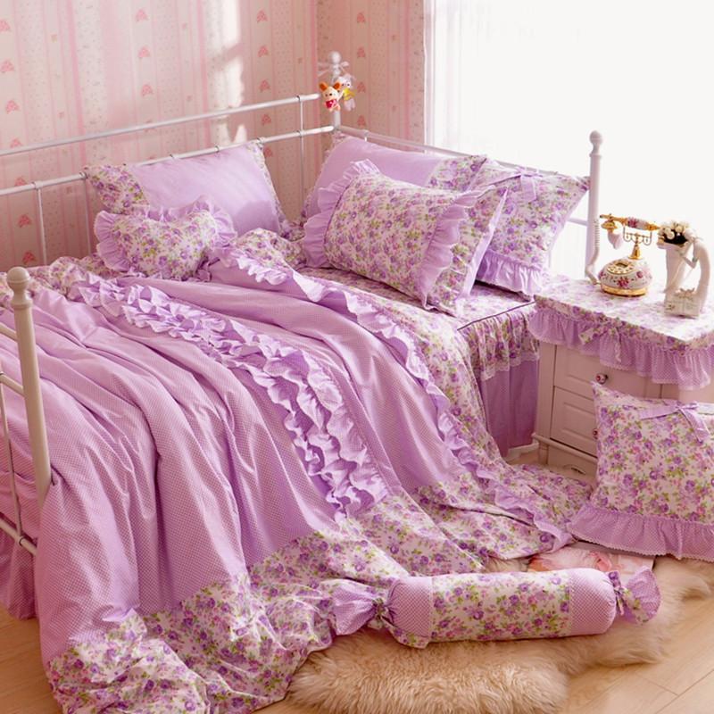 ผ้าปูที่นอนวินเทจ สีม่วง สไตล์เกาหลี เจ้าหญิง