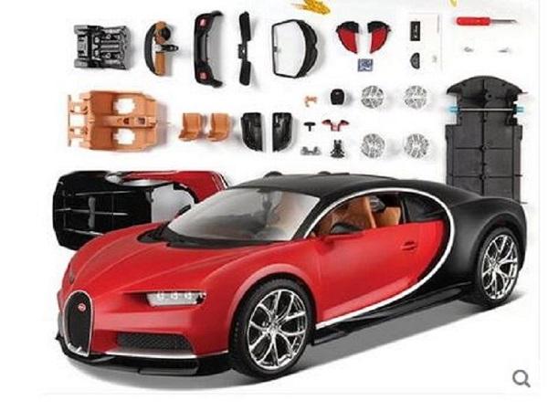 ขาย พรีออเดอร์ โมเดลรถเหล็ก โมเดลรถยนต์ ประกอบ Bugatti Chiron แดง 1:24 สเกล มี โปรโมชั่น