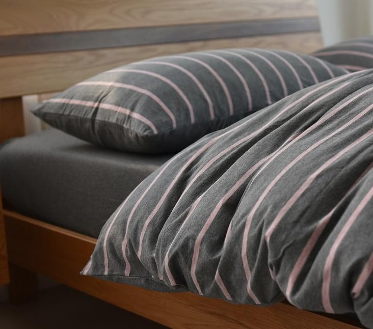 ผ้าปูที่นอน สีพื้น ลายทาง เนื้อผ้าถักนิตติ้ง KnittedCotton