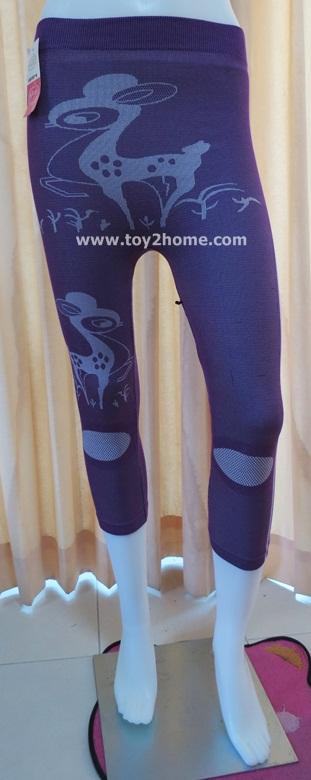 กางเกงเลคกิ้ง 7 ส่วน ผ้าทอ สีม่วง (ลายกวาง)