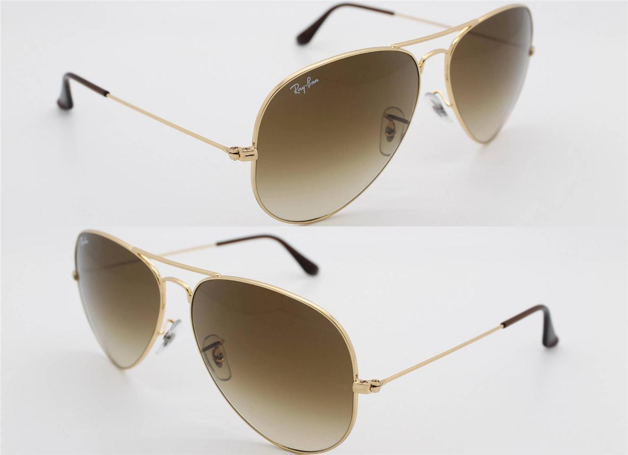 Ray Ban RB3025 001/51 Aviator Brown Gradient Gold Frame 55/58/62 mm