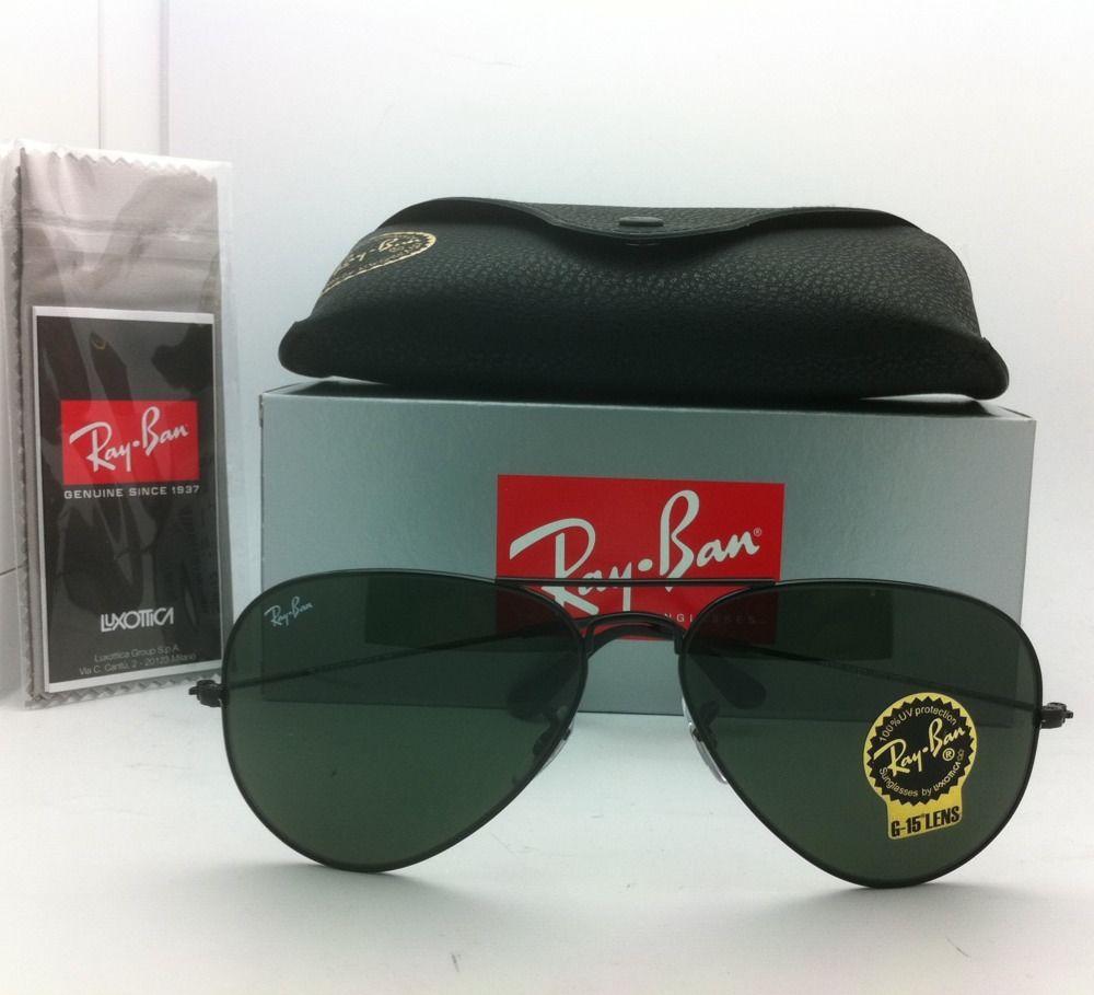 Ray Ban RB3025 L2823 Aviator Black Frame G-15 Lenses