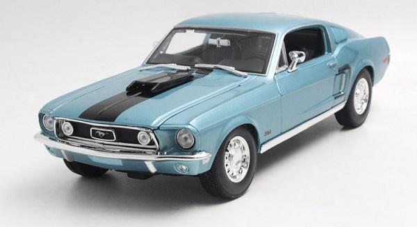 Pre Order โมเดลรถ Ford 1968 Jet Mustang GT 1:18 สีน้ำเงินคาดขาว รุ่นหายากสุดๆ มีโปรโมชั่น