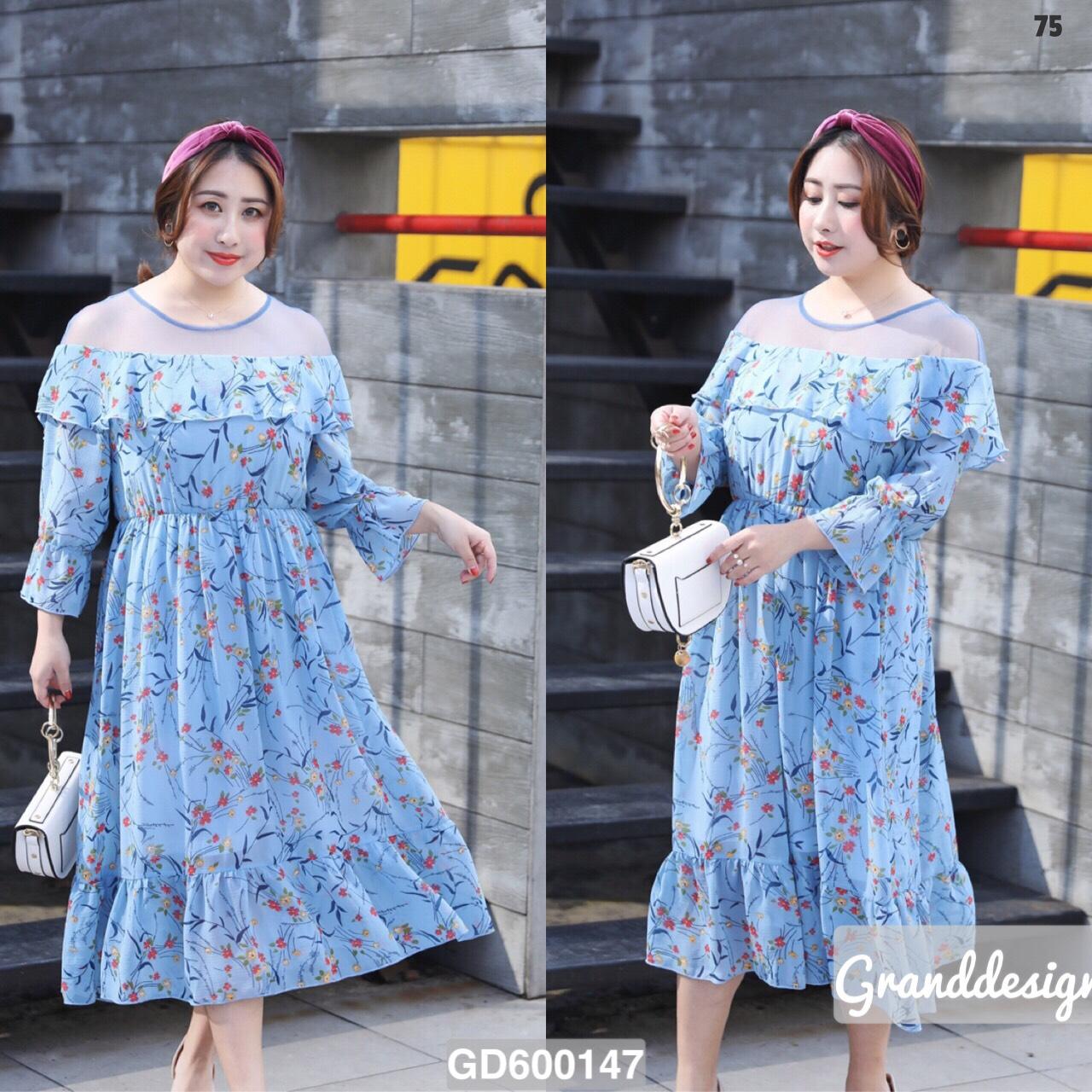 """GD0147 *สีฟ้า* Size 4XL รอบอก50"""" เดรสชีฟองลายดอกไม้สวยหวาน"""