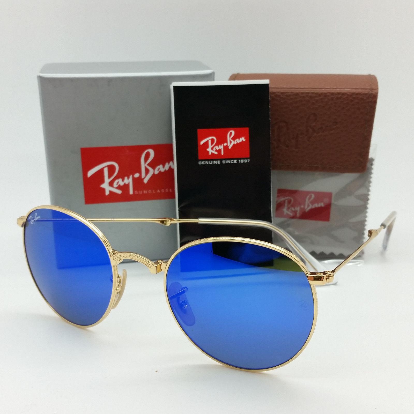 Ray-Ban RB3532 001/68 Folding Round Metal Gold Blue Mirror