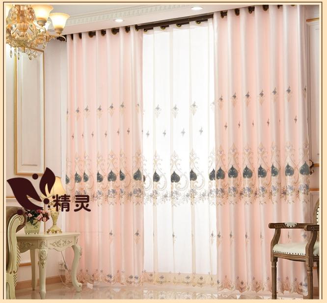 ผ้าม่าน สไตล์ยุโรป งานปัก ลายดอกไม้สีชมพู-พีช