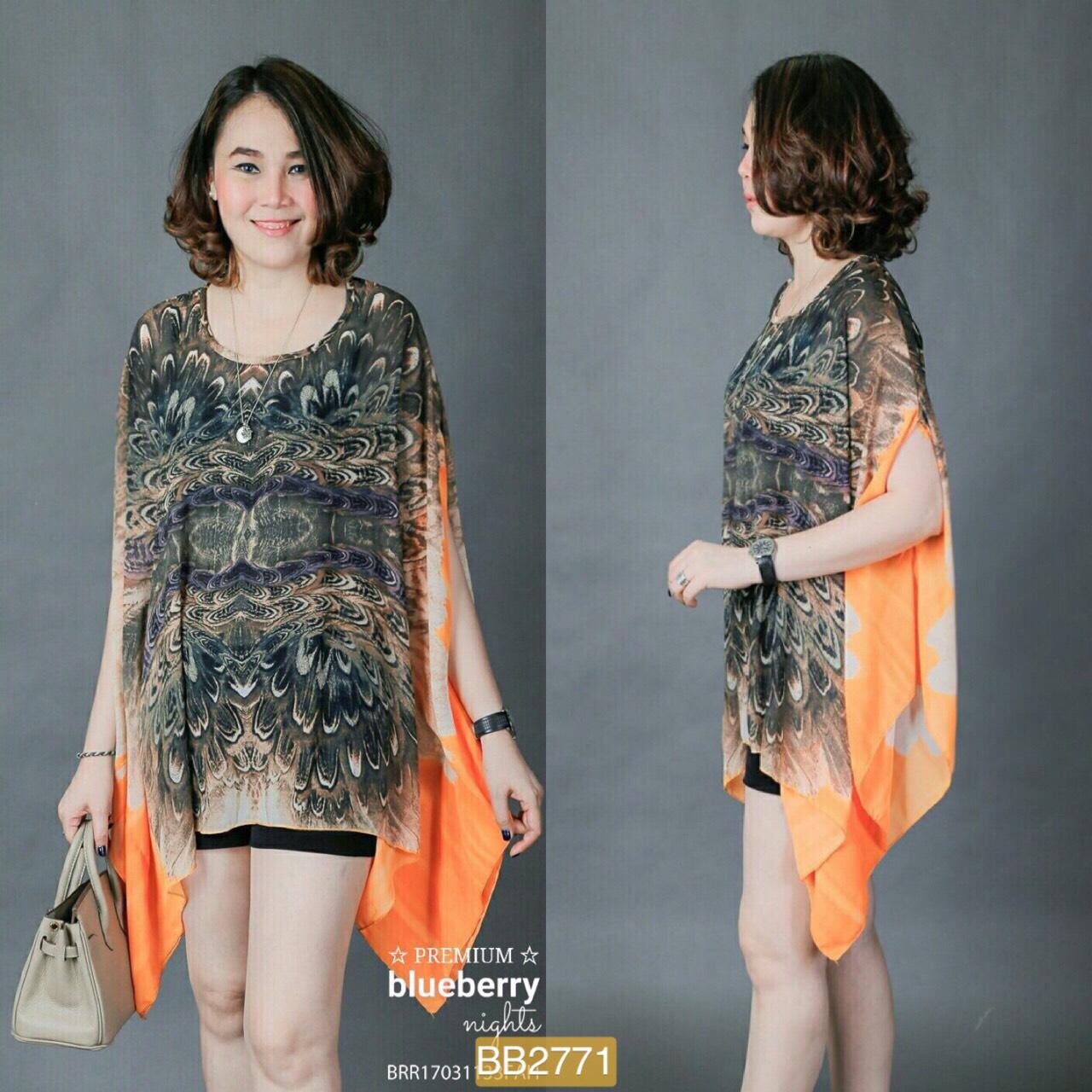 BB2771**สีส้ม**รอบอกฟรีไซส์(44-60) เสื้อเชิ้ตคลาสสิคโอเวอร์ไซส์พิมพ์ลายขนนก
