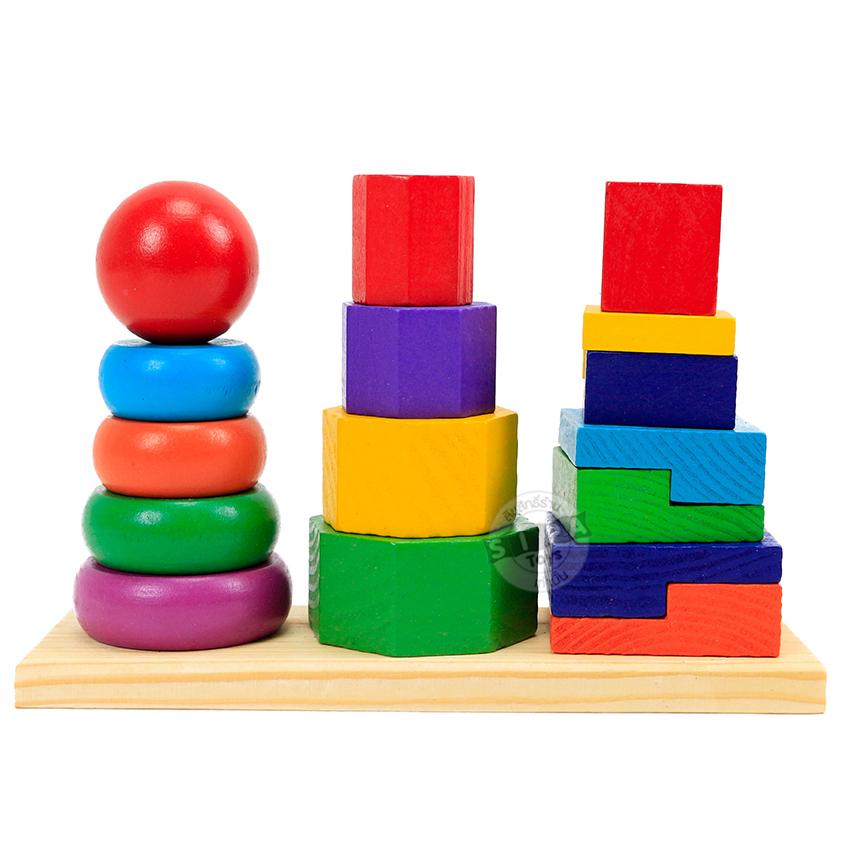 ของเล่นไม้ 3 หลักเรียนรูปรูปทรง ขนาด สี ...จัดส่งค่ะ