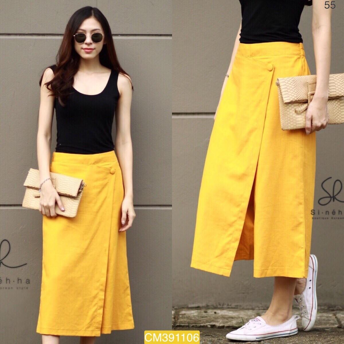 "CM1106 *สีเหลือง* เอว24-34"" กางเกงผ้าฝ้ายเนื้อดี"