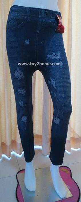 กางเกงเลคกิ้ง 9 ส่วน ผ้าหิมะ สีน้ำเงิน (ลายยีนส์ขาด)
