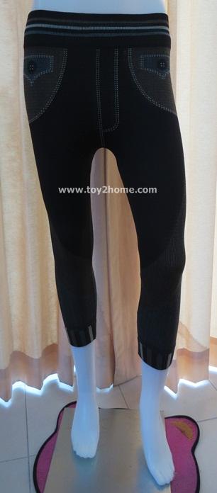กางเกงเลคกิ้ง 7 ส่วน ผ้า Spendex (ลายดำ-น้ำตาล)