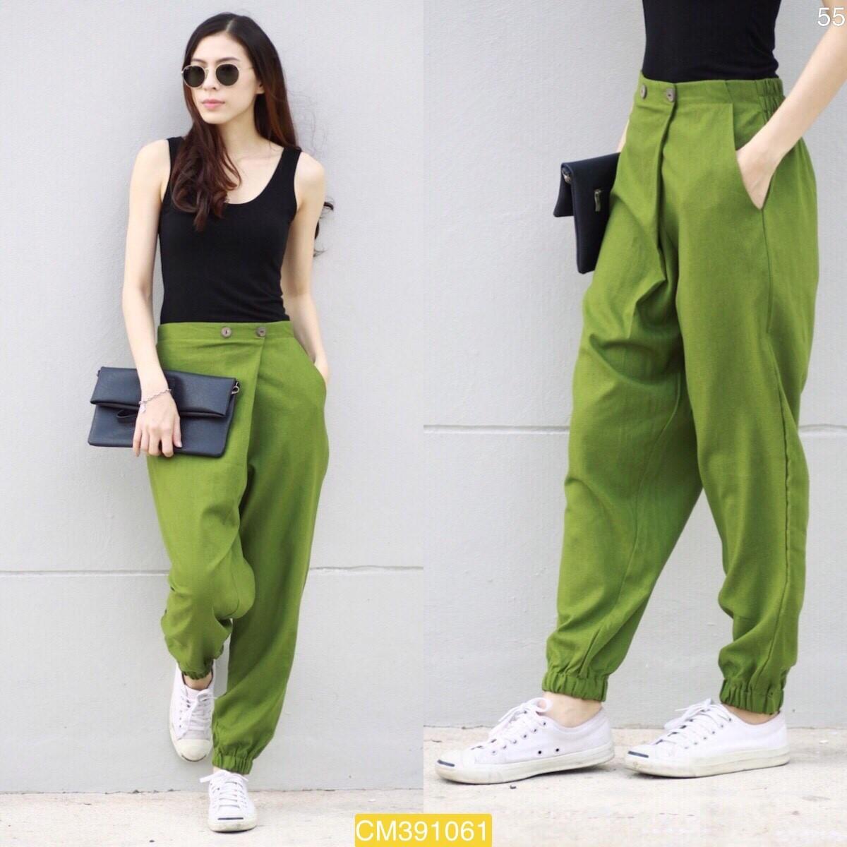 """CM1061 *สีเขียว* เอว30-35"""" กางเกงผ้าฝ้ายรุ่นขายดี"""