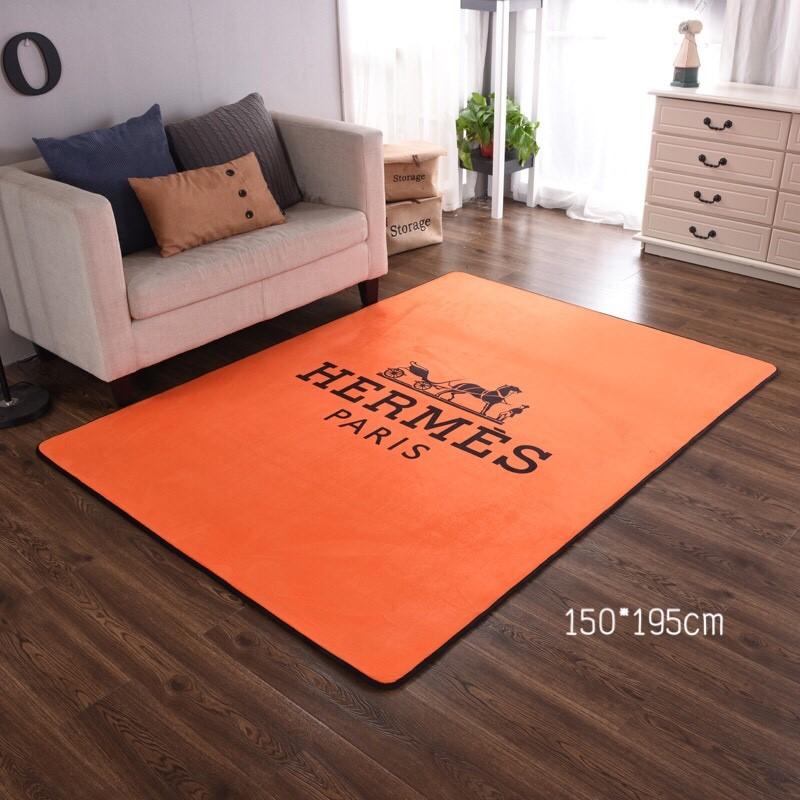 พรมผืนใหญ่ พรมห้องนั่งเล่น ลายHermes สีส้ม