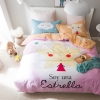 ผ้าปูที่นอน ลายการ์ตูนรูปดาว สีชมพูหวาน