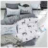 ผ้าปูที่นอน ลายกวาง สีเทา-ขาว