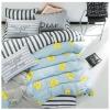 ผ้าปูที่นอน ลายทาง หัวใจสีเหลือง สีเทา