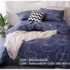 ผ้าปูที่นอน ลายจุดปลาวาฬ สีเทา-ฟ้า