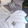 ผ้าปูที่นอน ลายเส้น ลายตาราง สีขาว-เทา