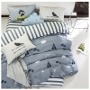 ผ้าปูที่นอน ลายเส้น สีเทา-ขาว