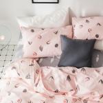 ผ้าปูที่นอน ลายจุดแครอท แตงโม สีชมพู-เทา