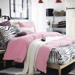 ผ้าปูที่นอน ลายม้าลาย Zebra Bedding สีชมพูอ่อน