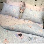 ผ้าปูที่นอน ลายดอกไม้เล็กๆ สีชมพู-ฟ้า หวานๆ