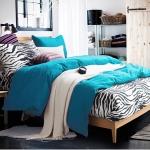 ผ้าปูที่นอน ลายม้าลาย Zebra Bedding สีฟ้า