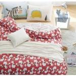 ผ้าปูที่นอน ลายม้าลาย สีแดง-ครีม ลายน่ารักๆ