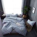 ผ้าปูที่นอน ลายทางเส้นสีขาว สีฟ้า-เทา